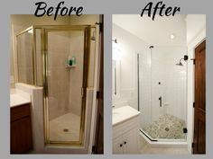 Shower Replacement   Shower Re Do   Oversized ShowerHead   Geometric Shower    All Glass Shower   Glass Walk In Shower   Shower Makeover   Bathroom  Makeover ...