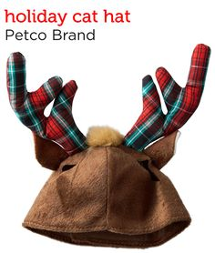 Liven up your cat's holiday with this Plaid Antlers Cat Hat from Petco's Holiday Gift Guide.
