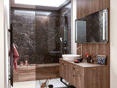 Ambiance écrin   Mobalpa Relief, Corner Bathtub, Mirror, Interior Design, Bathroom, Inspiration, Furniture, Home Decor, Wood Veneer