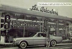 Les arkenberg Ford Season's Greetings window Display with 1966 Mustang Fastback