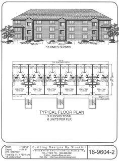 Apartment Building House Plans 6-plex #4 2nd floor | apartment/house plan ideas | pinterest