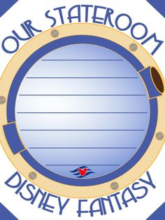 "Our Stateroom - Disney Fantasy - Disney Cruise Line - Project Life Journal Card - Scrapbooking. ~~~~~~~~~ Size: 3x4"" @ 300 dpi. This card is **Personal use only - NOT for sale/resale** Logos/clipart belong to Disney Cruise Line. Porthole from www.clker.com . Font is Copasetic www.dafont.com/copasetic.font ***Click through to photobucket for more versions of this card for each of the Disney ships :) ***"