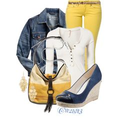 Denim jacket.  Love the blue shoe and yellow pant together.
