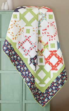"""Transform the Churn Dash block with just a flick of the fabric: """"flippy"""" corners add a bit of kick to the block and unify the scrappy look.Quilt designed by Jenny Doan of Missouri Star Quilt CoFinished Quilt Size: x 103 Blocks Heart Quilt Pattern, Quilt Patterns, Quilting Tips, Quilting Designs, Quilting Projects, Sewing Projects, Churn Dash Quilt, Picnic Quilt, Farm Quilt"""
