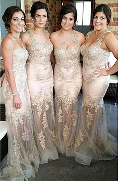Wedding Party One Shoulder Long Mermaid Bridesmaid Dresses Sexy Tulle with Applique Sleeveless Beaded Sweep Train Zipper Evening Dress Gowns Online with $105.89/Piece on Marrysa's Store | DHgate.com