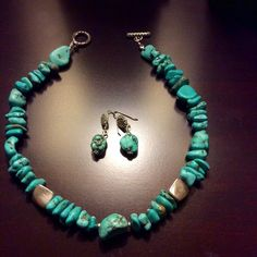"Handmade, Turquoise set of necklace and earrings Turquoise necklace and earring set. Necklace is 17"" long and earrings are about 1.25"" Jewelry Necklaces"
