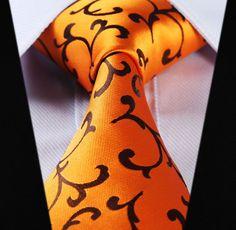 """TF2001D8 Gold Orange Floral 3.4"""" 100%Silk Wedding Jacquard Woven Men Tie Necktie Pocket Square Handkerchief Set Suit"""