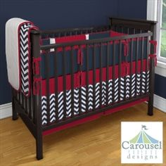 Baby boy bedding!  I think I really like the red white and blue together for a boy. Looks good!