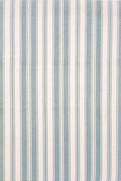 Dash & Albert Lighthouse Blue/Ivory indoor/outdoor. Great for a busy dining room.