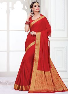 Classical Red Kanchipuram Silk Saree
