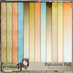 """Digital Scrapbooking Studio Fabulous Fall - Solid Papers - Designed to coordinate with FABULOUS FALL, these papers have a nice subtle watercolour texture to them. Mix and match them the the great supply of papers of this kit to create your FUN layouts! There are 12 - 12"""" x 12"""", 300 dpi JPEG papers. PU/S4H/S4O. Shadows are for preview"""