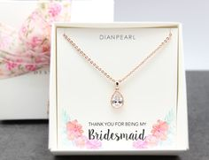 Rose gold Crystal Necklace for Bridesmaid