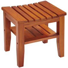 Solid-teak bench with shelf Easy to assemble Durable construction Vented design Holds up to Limited warranty Furniture Dolly, Ikea Furniture, Furniture Projects, Cool Furniture, Furniture Outlet, Wood Stool, Teak Wood, Shower Seat, Shower Tub