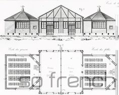 #AUTHENTIC engraving from 1872. LARGE SIZE.  BUY SEVERAL / PAY NO MORE SHIPPING FEES. (valid for prints from the #ARMENGAUD collection).  50 boys and 50 girls capacity school... #antique #armengaud #architectural #pupil #teacher #authentic #original