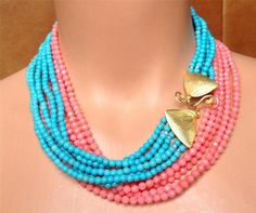 Nice long turquoise & coral necklace