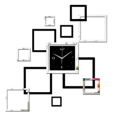 Living room new wall clock diy clocks home decoration watch horloge murale quartz acrylic mirror stickers Mirror Wall Clock, Black Wall Mirror, Diy Mirror, Wall Clocks, Hanging Clock, Diy Hanging, Mirror Tiles, Mirror Wall Stickers, Wall Stickers Home Decor