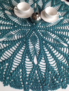 Handmade Lace Crochet Round Emerald Green Shiny Tablecloth,Vintage Inspired