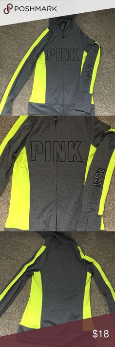 PINK. Lime green&Gray ultimate zip up.Lightly worn PINK. XS Lime green&Gray ultimate zip up. Lightly worn. Zippers paint came off a bit. PINK Victoria's Secret Tops Sweatshirts & Hoodies
