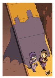 有一张图片,是小时候的超人和蝙蝠侠站在一起,背后的影子是他们未来的样子,谁有这张图?_百度知道