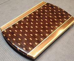 Wooden cutting board made with Black walnut & maple spline $90