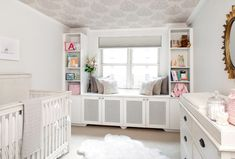 Gray Baby Nursery - wallpaper ceiling, built ins and window seat Baby Nursery Neutral, White Nursery, Nursery Room, Girl Nursery, Girl Room, Nursery Ideas, Baby Room, Child Room, Bright Nursery