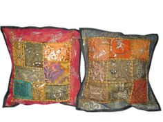 Shabby Chic 2 Black Embroidered Patchwork Pillow Shams $22.99