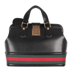 GUCCI VINTAGE Black Leather TRAIN CASE w/ Combination Lock | From a collection of rare vintage luggage and travel bags at https://www.1stdibs.com/fashion/handbags-purses-bags/luggage-travel-bags/