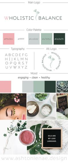 Brand identity, mood board, and logo design for a holistic health practitioner / natural health and wellness coach. Engaging, Clean, and Healthy inspiration. Delicate lines and flowers with a green, grey, and blush pink color scheme.