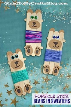 Popsicle Stick Bears In Sweaters - Kid Craft This latest craft idea from us is going to give you the WARM FUZZIES! No knitting required! Come see how I made these Popsicle Stick Bears In Sweaters come to life within minutes! Kids Crafts, Crafts For Teens To Make, Animal Crafts For Kids, Glue Crafts, Winter Kids, Christmas Crafts For Kids, Craft Activities For Kids, Baby Crafts, Summer Crafts