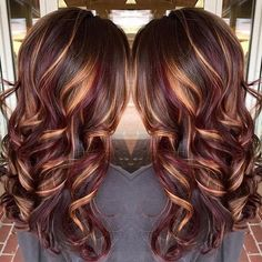 25 Best Hairstyle Ideas For Brown Hair With Highlights: wavy light brown hair with golden blonde and dark red highlights