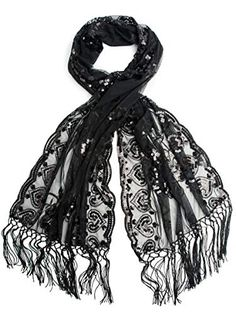 925572571f89f Bohomonde Madison Shawl, Long Fringe Sequin Evening Wrap Black/Blacks at Amazon  Women's Clothing