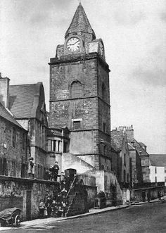 Tour Scotland Photographs: Old Photograph Jubilee Clock Tower South Queensferry Scotland