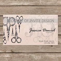 Vintage Hair Stylist Business Card by InviteDesign on Etsy, $15.00