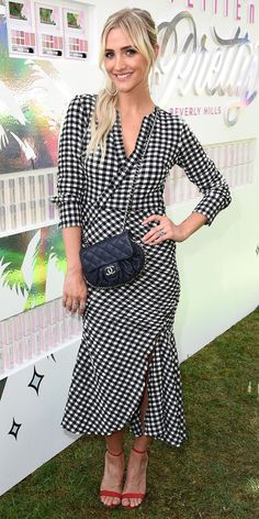 Ashley Simpson made a pretty statement while wearing a Rachel Comey dress in our favorite summer print: gingham. Red heels and a Chanel bag anchored her look. Celebrity Red Carpet, Celebrity Look, Celeb Style, Ashlee Simpson, Gingham Dress, Celebrity Outfits, Rachel Comey, Fashion Outfits, Women's Fashion