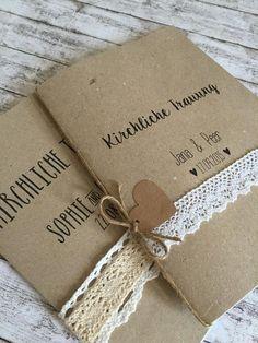 *handmade* Romantischer und moderner Kraftpapiereinband für Euer Kirchenheft. DIN A5  Inhalt muss separat gekauft/besprochen werden - je nach Seitenumfang.  Datum und Namen werden individuell...