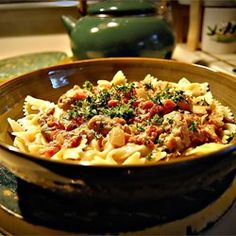 Bow Ties with Sausage, Tomatoes and Cream - Allrecipes.com