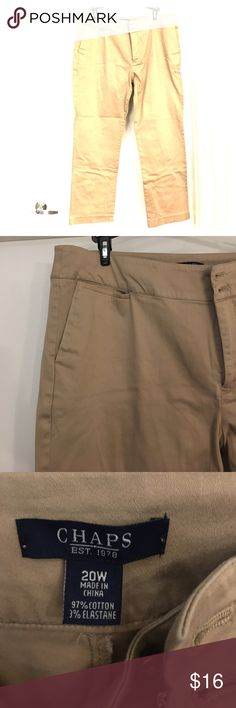 Chaps size 20 khaki pants. Chaps size 20 khaki pants. These are great for work and are very soft with nice big pockets on the side. Chaps Pants Trousers