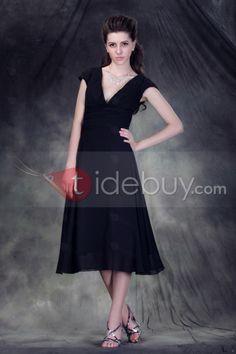 Elegant Black A-Line Tea-Length V-Neck Short Sleeves Anderai's Formal Dress : Tidebuy.com
