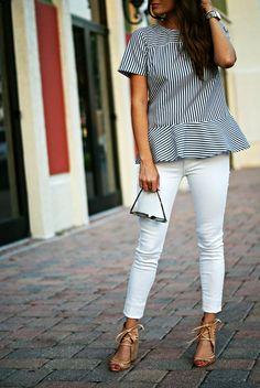 striped pepulm + white denim   styling white denim for spring