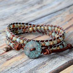 Wrap Bracelet, Aqua Terra Gemstones, Aqua Wrap Bracelet, Beaded Leather Wrap Bracelet, Boho Jewelry, Stacking Bracelets, Layering Bracelets