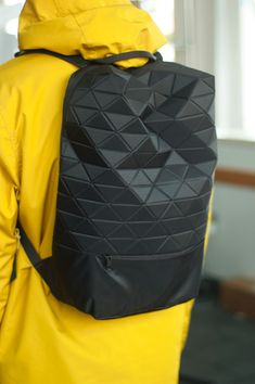 This immediately caught my attn. A triangularly pixelated structured bag, would seriously kick up any futuristic fit, add some Black on Black Adidas Hi-tops and that chic to death. i need this backpack Fashion Bags, Fashion Accessories, Womens Fashion, Men Backpack Fashion, Fashion Fashion, Fashion Design, Backpack Bags, Leather Backpack, Black Backpack