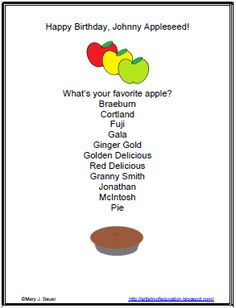 Happy Birthday, Johnny Appleseed: Free List Poem Printable