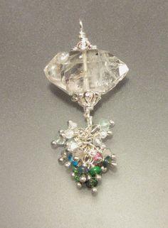 Herkimer Quartz, Black Opal, Sapphire, Apatite, assorted Gems with Sterling