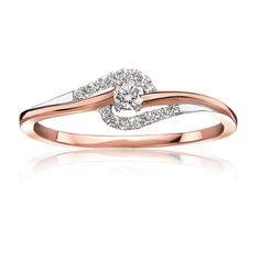 Diamond Promise Ring in 10 Karat Rose Gold - Summer 2015 Promise Ring Collection