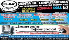 PC – MAC: venta de  #Computadoras PENTIUM 4 y Monitores LCD, discos duros #Valencia