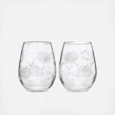 03708538cfb Floral Stemless Wine Glass, Set of 2 by Love & Victory | Wedding Planning,  Registry & Gifts