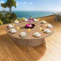 Massive Luxury Garden / Outdoor Round Dining Table Mocha Rattan 2.0mtr