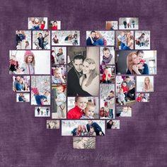 4 Diferent coeur Photo Collage Template PSD. Cadeau de Saint