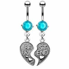 "Pair 2 Best Friends Heart Aqua CZ Belly Navel Ring Charms BFF Set Dangle Button Piercing Jewelry BYB Belly Rings. $6.99. Size: 14G 3/8"". Metal: 316L Stainless Steel. Brand New. High Quality"