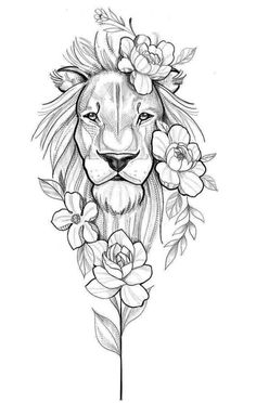 diseño de leona con flores - You are in the right place about diy face mask sewing pattern Here we offer you the most beautiful - Pencil Art Drawings, Art Drawings Sketches, Tattoo Drawings, Unique Tattoos, Beautiful Tattoos, Small Tattoos, Leg Tattoos, Body Art Tattoos, Sleeve Tattoos